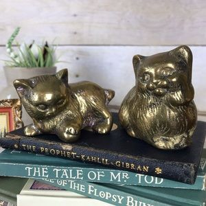 Vintage Brass Pair of Long Hair Cat Figurines MCM